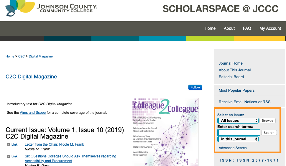 Scholarspace search tools on the right sidebar allow you to select an issue from a drop-down menu or to enter search terms.